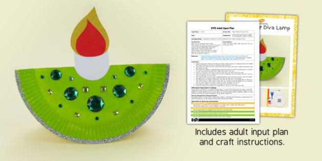 Paper Plate Diva Lamp EYFS Adult Input Plan and Craft Pack - paper plate, diva lamp, eyfs, craft, pack