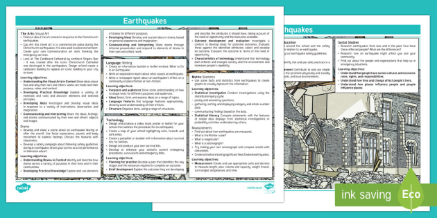Earthquakes Topic Planning Web - New Zealand Natural Disasters, earthquake, tsunami, volcano, monsoon, hurricane, flood, tornado