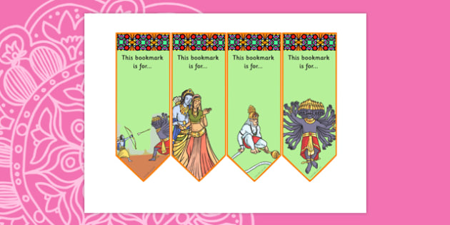 The Story of Rama and Sita Editable Bookmarks - hinduism, diwali