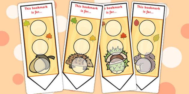Autumn Sticker Reward Bookmarks 30mm - autumn, seasons, bookmarks, awards, bookmark awards, books, reading, reward bookmarks, rewards, themed bookmarks