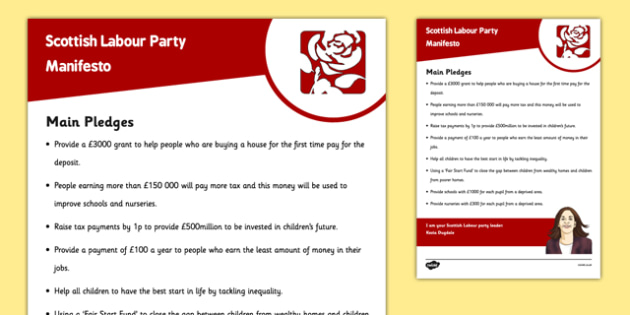 Scottish Elections 2016 Scottish Labour Party Manifesto Child Friendly - Scottish Elections, Politics, Holyrood 2016, Politicians, voting, electing, main pledges