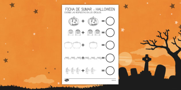 Halloween Ficha para contar y sumar
