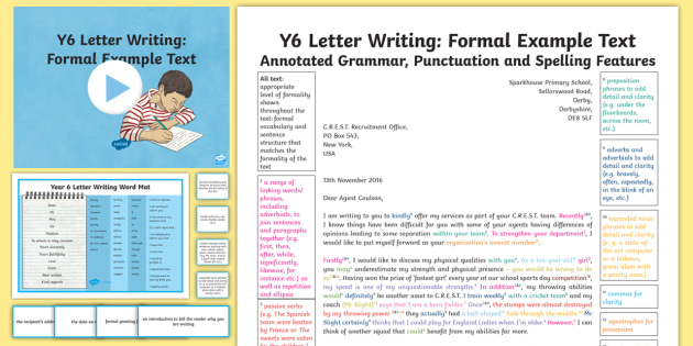 Y6 Letter Writing: Formal Model/Example Text - Example Texts Y6, moderating, sample, SATs, moderation, wagoll, fiction, non-fiction, sample, genre, ARE, age-related example, model, model text, age-related model