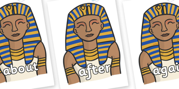 KS1 Keywords on Pharaoh - KS1, CLL, Communication language and literacy, Display, Key words, high frequency words, foundation stage literacy, DfES Letters and Sounds, Letters and Sounds, spelling