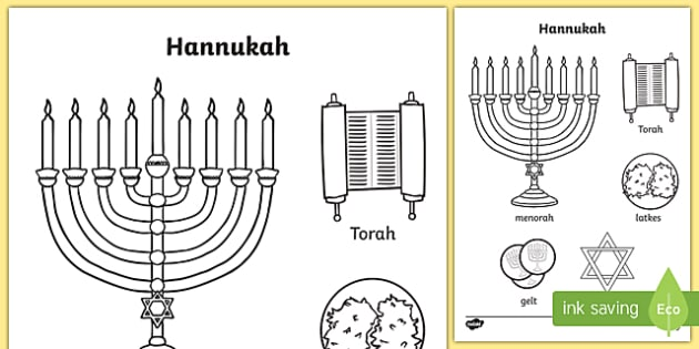 Hanukkah Words and Pictures Colouring Page