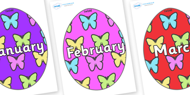 Months of the Year on Easter Eggs (Butterflies) - Months of the Year, Months poster, Months display, display, poster, frieze, Months, month, January, February, March, April, May, June, July, August, September