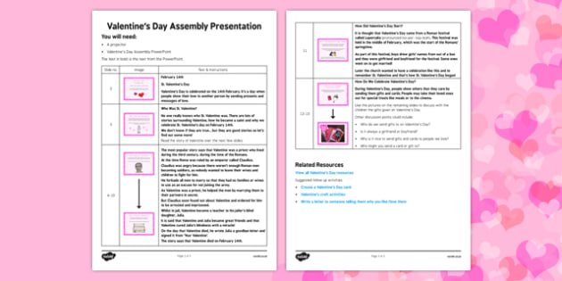 Valentine's Day Assembly Script - Valentine's Day, Assembly, script