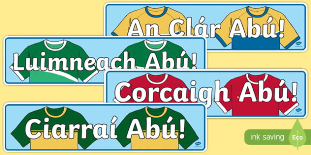 Irish Gaeilge Munster Counties Abú GAA Display Banner