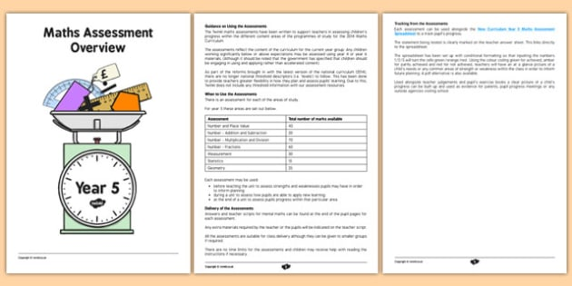 Year 5 Maths Assessment Overview - maths, numeracy, assessments