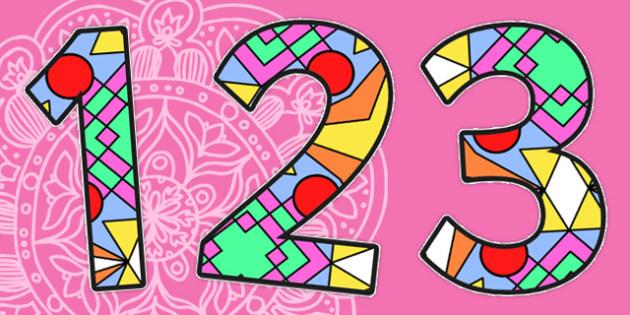 Diwali Rangoli Pattern A4 Display Numbers - diwali rangoli, pattern, A4, display numbers, diwali rangoli numbers, A4 numbers, numbers for display, patterns, divali, divalli