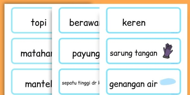 Winter Word Cards - seasons, weather, key words, visual aids  - Indonesian