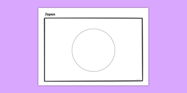Japan A4 Colouring Flag - geography, flags, country, colour in