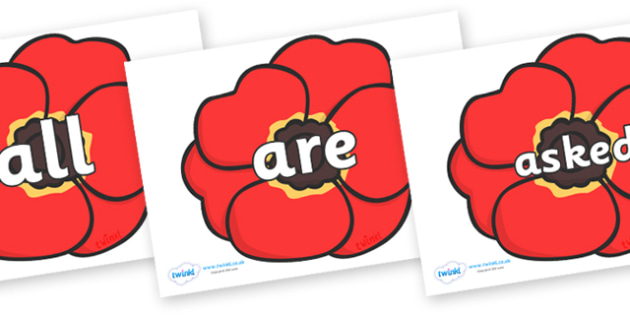 Tricky Words on Poppies - Tricky words, DfES Letters and Sounds, Letters and sounds, display, words