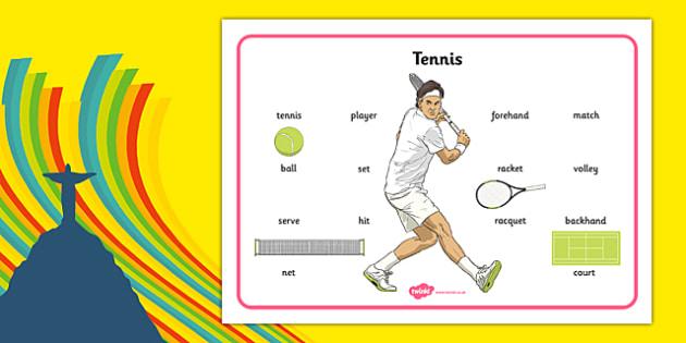 The Olympics Tennis Word Mat - the olympics, rio olympics, 2016 olympics, rio 2016, tennis, word mat