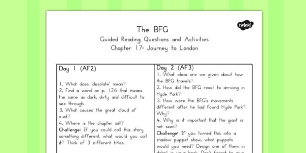 Guided Reading Questions Chapter 17 to Support Teaching on The BFG - australia, bfg, guided reading