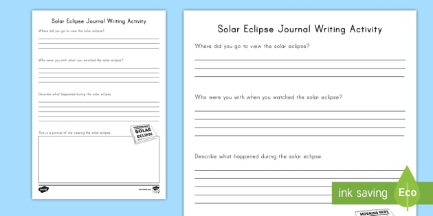 Solar Eclipse Journal Writing Activity Sheet - Journaling, Review, information text, informative writing, work on writing, Worksheet