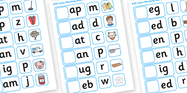 CVC Initial Letter Matching Game - letters, words, matching, letter matching, matching activity, matching games, matching, sorting, sorting games, letter games, games