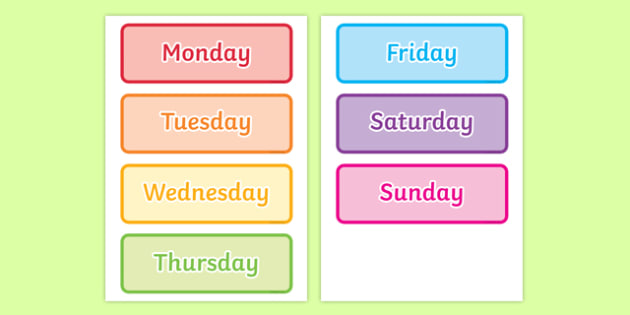 Days of the Week Word Cards - days of the week, word cards, days, week, cards