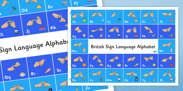 Large British Sign Language Alphabet Poster - alphabet, poster