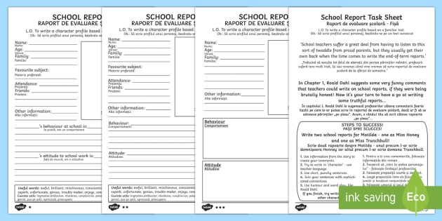 School Report Task Sheet and Differentiated Activity Sheets to Support Teaching on Matilda - Romanian/English - Matilda School Report Task Sheet and Differentiated Worksheets - report, reports,Romanian-translatio