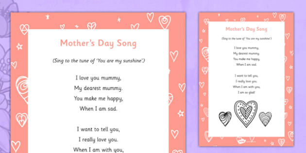 Mother's Day Song - Mother's Day, Flowers, song, rhyme, lyrics, mothers day song