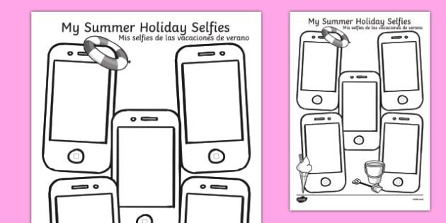 Summer Holiday Selfies Writing Template Spanish Translation - spanish, holiday, summer, term, break, holidays, selfie, selfy, photo, portrait, picture