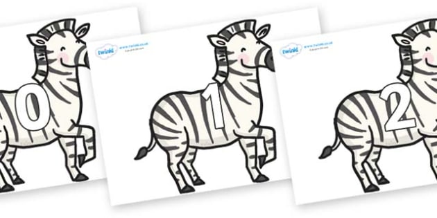 Numbers 0-50 on Zebras - 0-50, foundation stage numeracy, Number recognition, Number flashcards, counting, number frieze, Display numbers, number posters