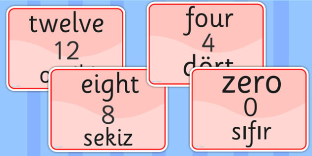 Number Signs EAL Turkish Version - numbers, EAL signs, turkish