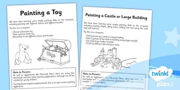 Computing: Painting Year 1 Unit Home Learning Tasks