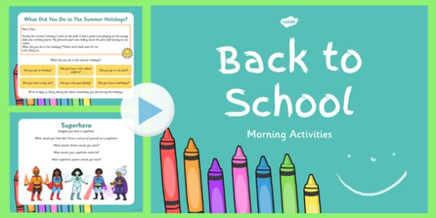 Keystage 1 Morning Activities PowerPoint - morning, activities, powerpoint