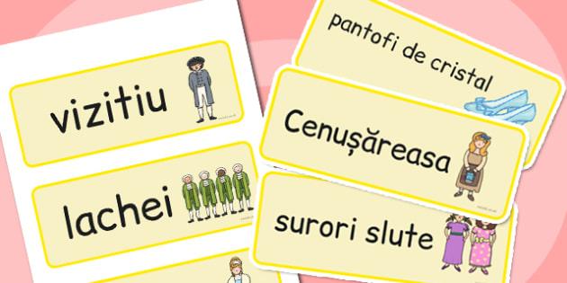 Cenușăreasa - Cartonașe cu imagini și cuvinte