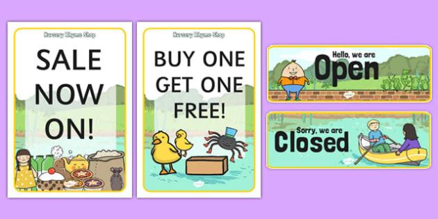 Nursery Rhyme Shop Role Play Signs - nursery rhyme shop, nursery rhyme, rhyme, signs, display