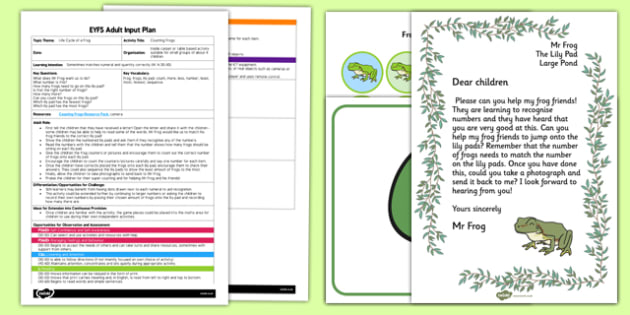 Counting Frogs Activity EYFS Adult Input Plan and Resource Pack