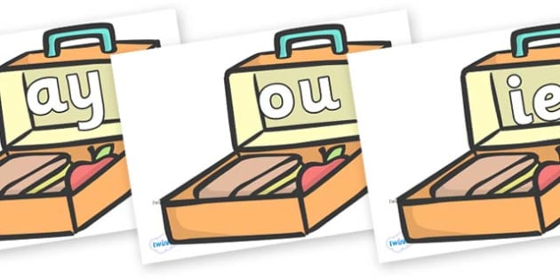 Phase 5 Phonemes on Lunch Boxes - Phonemes, phoneme, Phase 5, Phase five, Foundation, Literacy, Letters and Sounds, DfES, display