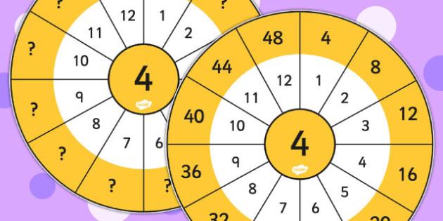 4 Times Table Wheel Cut Outs - visual aid, maths, numeracy