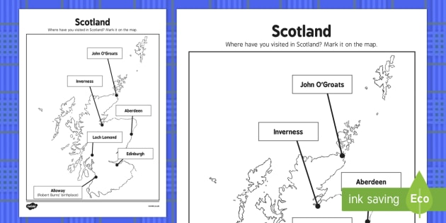 Burns Night Scotland Map Activity - Elderly, Reminiscence, Care Homes, Burns' Night