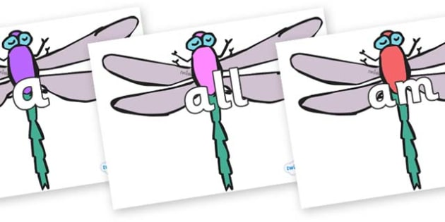 Foundation Stage 2 Keywords on Dragonflies - FS2, CLL, keywords, Communication language and literacy,  Display, Key words, high frequency words, foundation stage literacy, DfES Letters and Sounds, Letters and Sounds, spelling