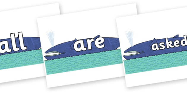 Tricky Words on Whale to Support Teaching on Sharing a Shell - Tricky words, DfES Letters and Sounds, Letters and sounds, display, words