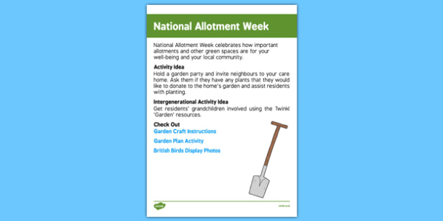 Elderly Care Calendar Planning August 2016 National Allotment Week - Elderly Care, Calendar Planning, Care Homes, Activity Co-ordinators, Support, August 2016