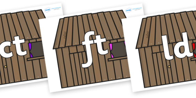 Final Letter Blends on Wooden houses - Final Letters, final letter, letter blend, letter blends, consonant, consonants, digraph, trigraph, literacy, alphabet, letters, foundation stage literacy