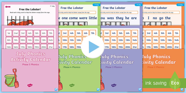 July Phonics Activity Calendar Powerpoint Pack  Reading