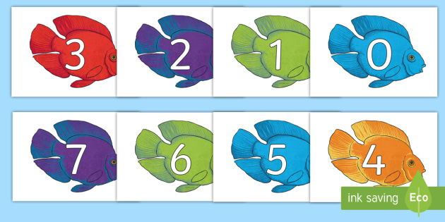 Numbers 0-31 on Fish to Support Teaching on The Rainbow Fish - 0-31, foundation stage numeracy, Number recognition, Number flashcards, counting, number frieze, Display numbers, number posters