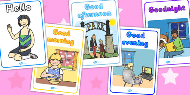 Time of Day Greetings With Pictures Display Posters - display