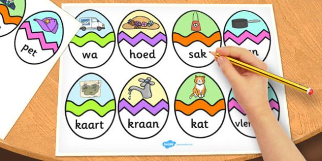 Afrikaans CVC A Words Easter Egg Matching Activity - afrikaans