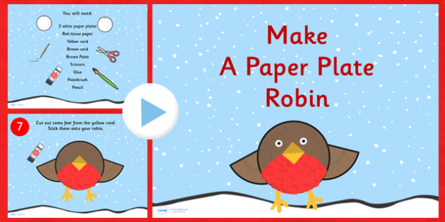 Make a Paper Plate Robin Activity PowerPoint - christmas, crafts
