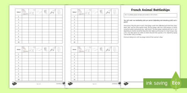 Animal Board Game French - French Games, french animals, french pets, battleships, french numbers to 10, french numbers,Scottis