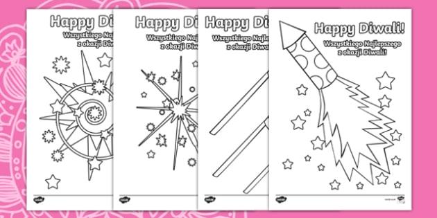 Diwali Fireworks Colouring Pages Polish/English