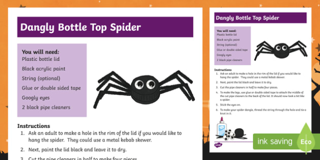 Halloween Bottle Top Spider Craft Instructions