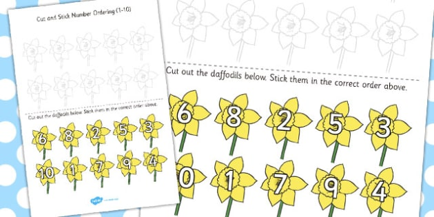 Cut and Stick Number Ordering Daffodil Activity 1-10 - daffodil