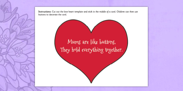 Mums Are Like Buttons Mother's Day Card - Love, heart, EYFS, mothers day